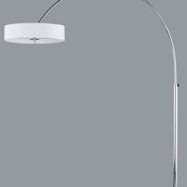 Weiße Mid Century Bogenlampe mit grauem Hintergrund