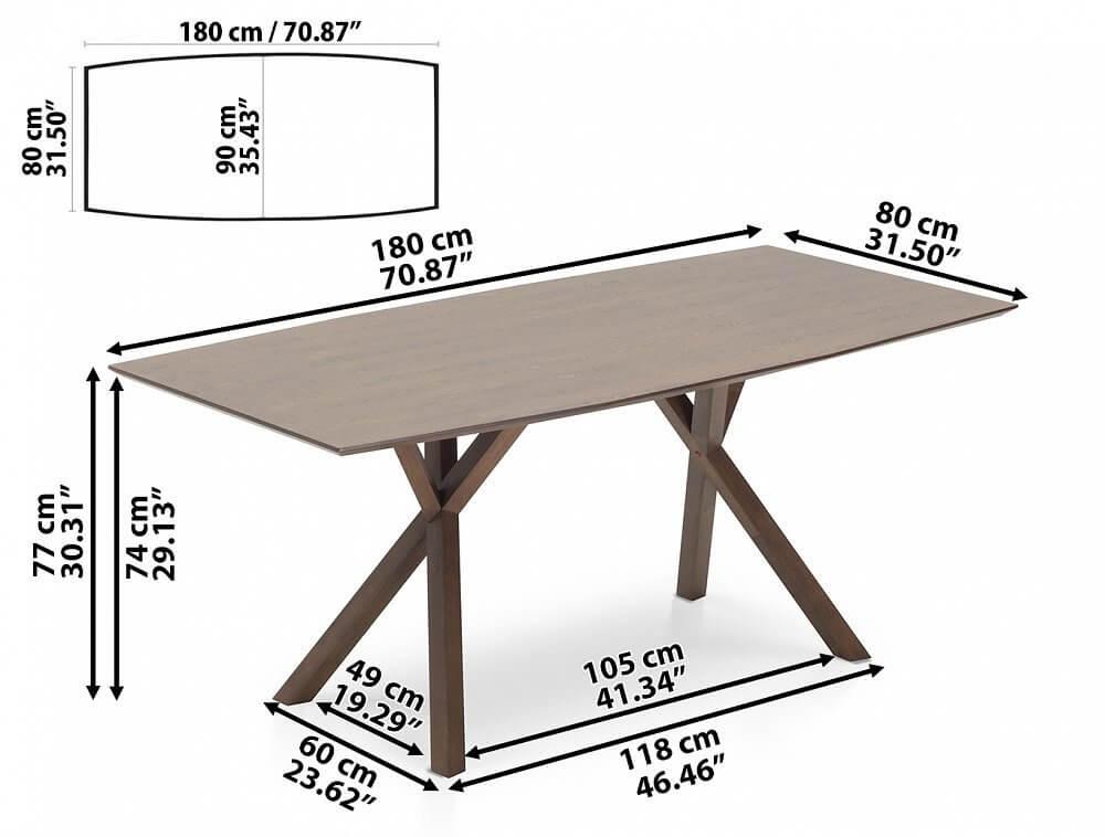 Esszimmertisch im Mid Century Modern Design  Holz  ~ Esstisch Masse