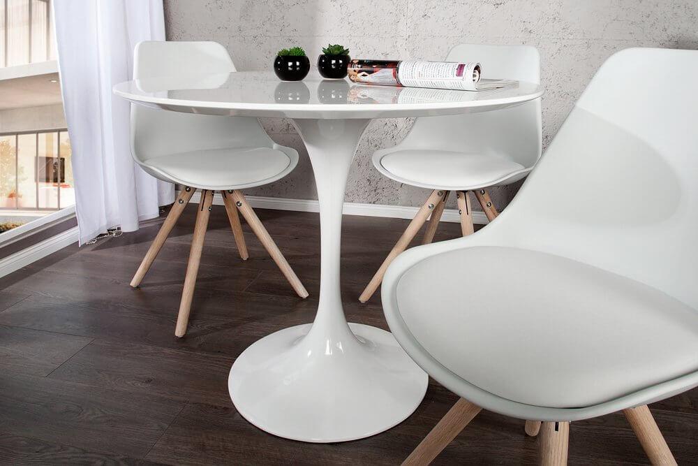 Esstisch stühle modern  Mid-Century Modern Esstisch SIGNUM 90cm rund aus Fiberglas in weiß ...