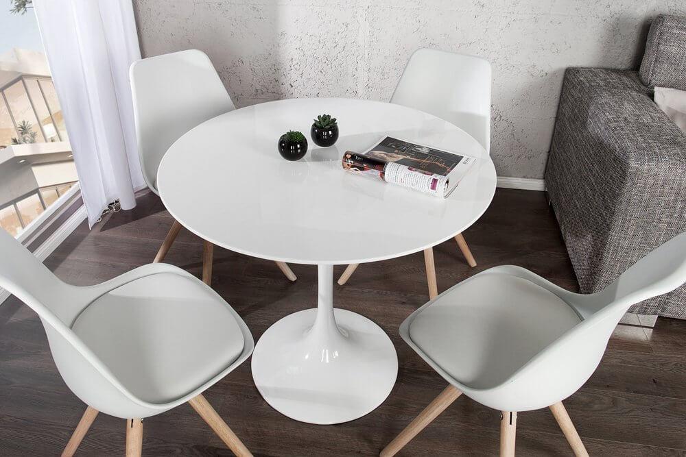 Esstisch Modern Rund ~ MidCentury Modern Esstisch SIGNUM 90cm rund aus Fiberglas in weiß  MidCent