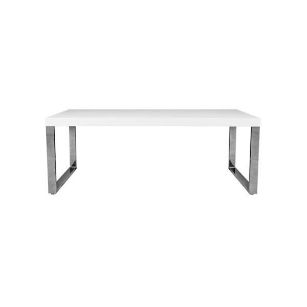 Tenzo 3020-001 Scala Designer Esstisch, lackiert, matt, Untergestell Metall, verchromt, 78 x 210 x 95 cm (H x B x T), weiß