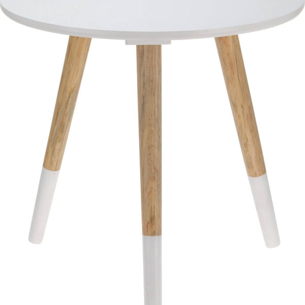Couchtisch mit weisser Platte und Holzbeinen