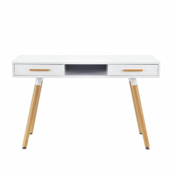 Schreibtisch weiss Mid Century Design Schublade Frontalansicht