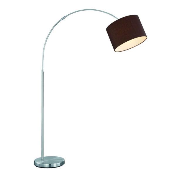 Standleuchte Bogenlampe brauner Stoffschirm